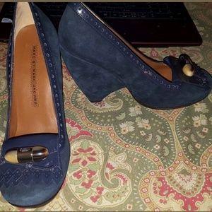Marc Jacobs 7 37.5 blue suede wedge heels